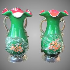 PAIR c.1880-1920 Stevens and Williams - Applied Spatter Ware - Vase  Art Glass