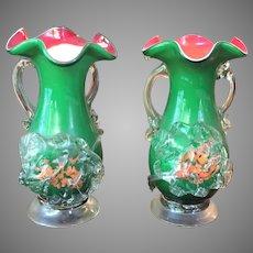PAIR Stevens and Williams Applied Spatter Vase c.1880-1920 Art Glass