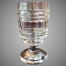 RARE Pre-Civil War Cut Glass Flint Goblet / Wine Glass / 10 Sided / Hand Applied Rings