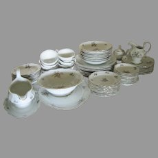 60 PIECES  Sepia Rose Haviland Limoges China -  Only $2.67 Each c.1940's