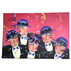 """Robin Morris  27"""" x  39"""" ARTIST PROOF c.1988 Limited Edition Lithograph -  Never matted or framed  - - Title - Cast Party"""