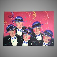 """Robin Morris ARTIST PROOF 27"""" x  39"""" Limited Edition Lithograph - Cast Party  Never matted or framed c.1988"""