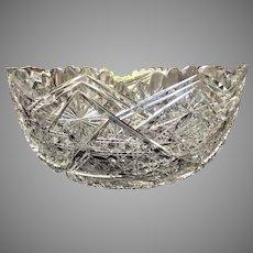 "10""x 5"" Stunning 8 1/2 lb. Large Punch Bowl Cut Glass American Brilliant THINK HOLIDAYS"