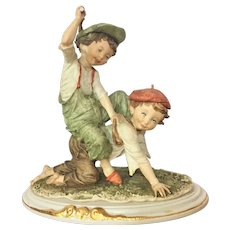 "11"" Rare Giuseppe Armani Capodimonte Figurine Two Boys playing horseback ride INCREDIBLE REALISM Gulliver;s World"