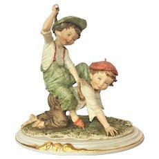 "11"" Rare Giuseppe Armani Capodimonte Figurine Two Boys playing horseback ride INCREDIBLE REALISM Gulliver;s World"
