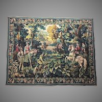 """44"""" Flemish 70 yrs old Loom Woven Tapestry Wall Hanging  - Hawking with Emperor Maximilian - Belgium Hunting Scene"""
