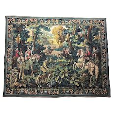 "44"" Flemish 70 yrs old Loom Woven Tapestry Wall Hanging  - Hawking with Emperor Maximilian - Belgium Hunting Scene"