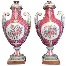 PAIR c.1910 French Porcelain Hand Painted Gold Trim Table Lamp GORGEOUS