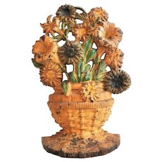 "Cast Iron Doorstop Flower Basket c,1920's  9 1/2"" x  6 3/4"""