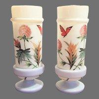 """Victorian Boston Sandwich Opaline Bristol Glass Vase - Urn 1870-1880 HAND PAINTED  Gorgeous - Translucent -- 10"""" x  4 1/2"""""""