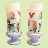 "10"" x  4 1/2"" Victorian Boston Sandwich Vase Opaline Bristol Glass  - Urn c.1870-1880 HAND PAINTED  Gorgeous - Translucent"