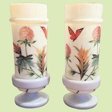 """10"""" x  4 1/2"""" Victorian Boston Sandwich Vase Opaline Bristol Glass  - Urn c.1870-1880 HAND PAINTED  Gorgeous - Translucent"""