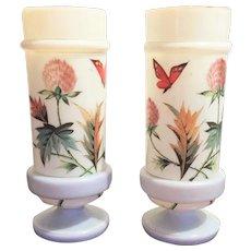 Victorian PAIR Opaline Bristol Glass Vase - Urn 1870-1880 HAND PAINTED  Boston Sandwich Gorgeous Translucent