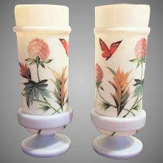 Victorian Boston Sandwich Opaline Bristol Glass Vase - Urn 1870-1880 HAND PAINTED  Gorgeous Translucent