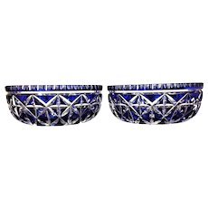 "PAIR Dorflinger Bowl Cobalt Cut to Clear EXCEPTIONAL 8 1/8"" x  3 1/2"" American Brilliant"