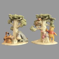 PAIR Winnie the Pooh Candlesticks by Lenox 24 kt GOLD  Excellent Condition THINK GIFT