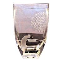 Crystal Vase Golf - Golfer - Golf Balls - Tee c.1980's  Javit Badash Crystal