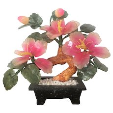 GORGEOUS Chinese Asian Jade Tree Oriental Bonsai Gemstones c.1900's Jade Plant