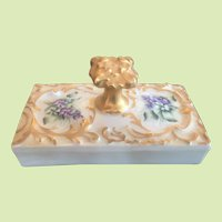 RARE c.1880-1907 T & V - Tressemanes & Vogt Ink Blotter - Paper Weight Hand Painted Victorian Gold GORGEOUS