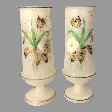 A MIRRORED PAIR Victorian Bristol Glass Frosted - Opaline Hand Painted Enameled Gold -- Translucent Vase