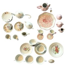 Lot of Child's Tea Set 34 PIECES c.1880-1920 Doll House Tea Set - Toy Tea Set VICTORIAN Hand Painted Gold Enameled