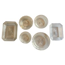 Lot of Boston Sandwich Glass EAPG Flint Dish c.1835-1865 Set-6 RARE Patterns Fine Ribbed and Sunburst