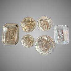 Lot of Boston Sandwich Glass EAPG Flint Dish c.1835-1865 Set-6 RARE Patterns Fine Ribbed and Sunburst