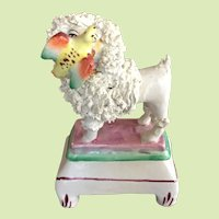 AUTHENTIC c.1840-1880's Victorian Staffordshire Poodle Dog With Bird England