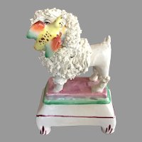 Victorian Staffordshire Poodle Dog With Bird Authentic c.1840-1880's England