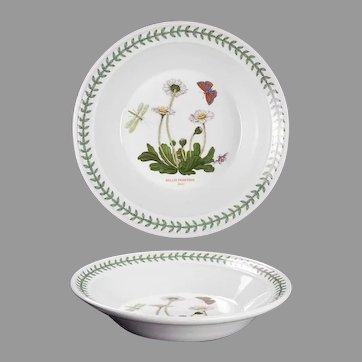 "8 1/2"" The Botanic Garden Portmeirion Rim Soup Bowl Bellis Perennis - Daisy"