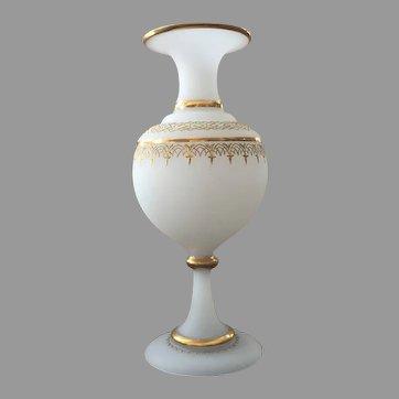"12"" tall Antique Vase Bohemian Opaline Gilt Gold Enameling c.1880-1910"