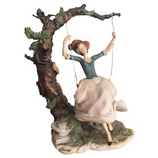 "11"" Rare Giuseppe Armani Capodimonte Figurine - Lady on a Swing - INCREDIBLE REALISM"