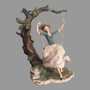 "11"" Rare Giuseppe Armani Capodimonte Figurine - Lady on a Swing - INCREDIBLE REALISM"