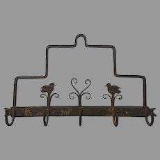 "RARE 1800's  14 1/2"" x  9 1/3"" Wrought Iron Primitive Country AMERICANA - Hanging Kitchen Rack - Folk Art Birds"