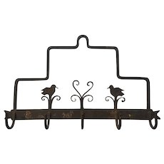 "RARE 1800's  14 1/2"" x  9 1/3"" Wrought Iron Primitive Country AMERICANA - Hanging Kitchen Rack - Folk Art Birds"