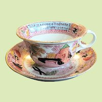 "8"" Royal Staffordshire Pottery Burslem England Large Cup & Saucer - Soup Bowl / Pasta Bowl -- Auld Lang Syne"