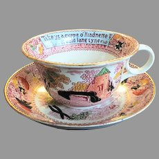 "8"" Royal Staffordshire Pottery Burslem England Large Cup & Saucer - Soup Bowl / Pasta Bowl -- Auld Lang Syne"