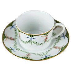 Raynaud Ceralene Festivities Ceramic Limoges France Teacup Cup and Saucer - LARGE Size