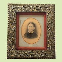 "Ornate Civil War Era - Frame -- c.1860-70 Photograph 14"" x  18"" CATTAIL PATTERN Frame Wood Gesso Gilt Matted Velvet"