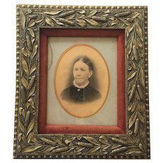 "Ornate Civil War Era - Frame -- c.1860-70 Photograph 14"" x  18"" CATTAIL PATTERN Frame Wood Gesso Gilt Matted Velvet"