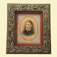 "Ornate Civil War Era -  Wood Frame -- c.1860-70 Photograph 14"" x  18"" CATTAIL PATTERN Gesso Gilt Matted Velvet"