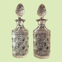 Pair 1870's Cut Glass Cologne Bottle / Perfume Bottle AMERICAN BRILLIANT PERIOD