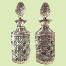 Pair 1870's Cut Glass Cologne Bottle / Perfume Bottle AMERICAN BRILLIANT PERIOD