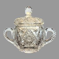 VICTORIAN Cut Glass  Covered Sugar Bowl  EXCEPTIONAL PATTERN American Brilliant 2+lbs
