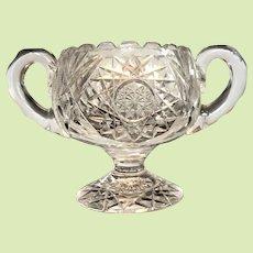Rare 2+lbs Victorian Cut Glass Sugar Bowl PEDESTAL / Footed  -- American Brilliant