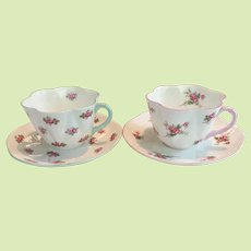 """TWO  c.1939 Shelley Teacup and Saucer  Dainty Shape  - Rosebud / Bridal Rose Patterns """"BEST WARE COLLECTION"""""""