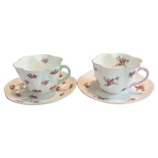 "TWO  c.1939 Shelley Teacup and Saucer  Dainty Shape  - Rosebud / Bridal Rose Patterns  -- ""BEST WARE COLLECTION"""