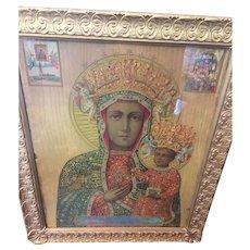 "Rare Black Madonna Print  Frame Wood Gesso  23""x19.5""   MUST SEE  c.1910"