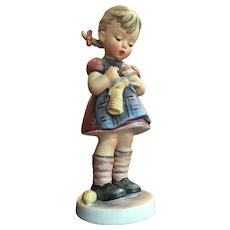 "Vintage LARGE 6 3/4"" Hummel Figurine Girl Knitting -- A Stitch In Time West Germany --  Think Holidays"