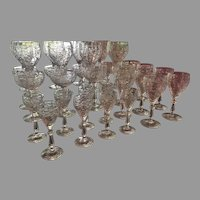 31 Pieces Stemware Barware Cut Glass Goblet Wine Cordial Port Sherry FULL PATTERN